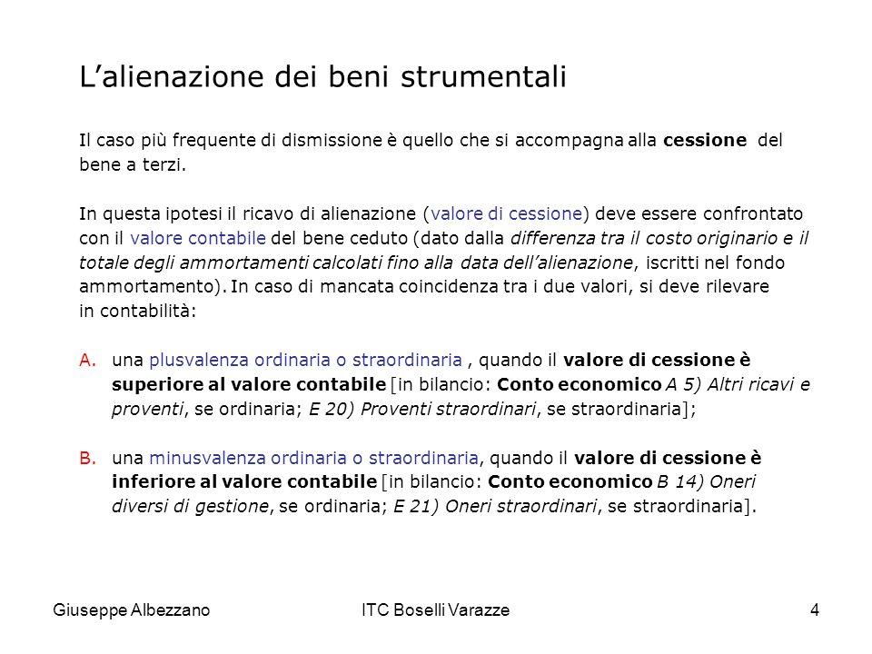 Giuseppe AlbezzanoITC Boselli Varazze25 ESEMPIO 5 La vendita di immobilizzazioni non utilizzate nella gestione caratteristica dellimpresa, ossia di beni non strumentali (come i fabbricati civili), rappresenta unoperazione di carattere straordinario che dà luogo a componenti straordinari di reddito.