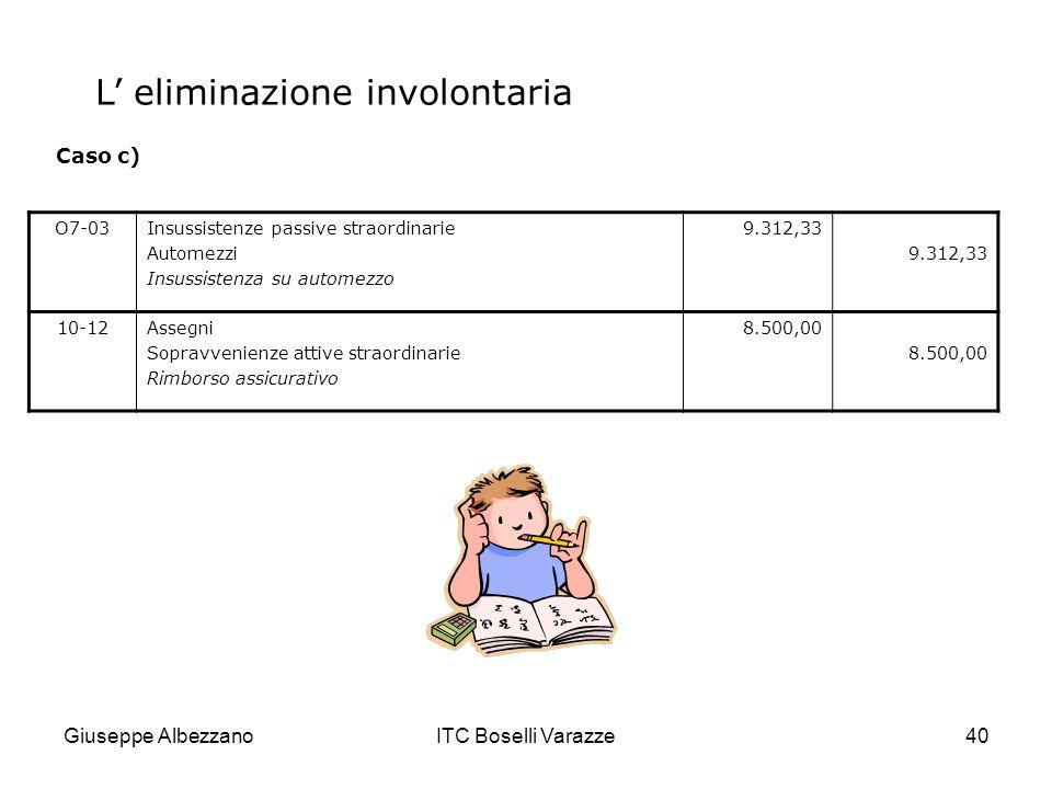 Giuseppe AlbezzanoITC Boselli Varazze40 O7-03Insussistenze passive straordinarie Automezzi Insussistenza su automezzo 9.312,33 10-12Assegni Sopravveni
