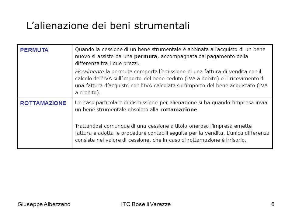 Giuseppe AlbezzanoITC Boselli Varazze6 Lalienazione dei beni strumentali PERMUTA Quando la cessione di un bene strumentale è abbinata allacquisto di u