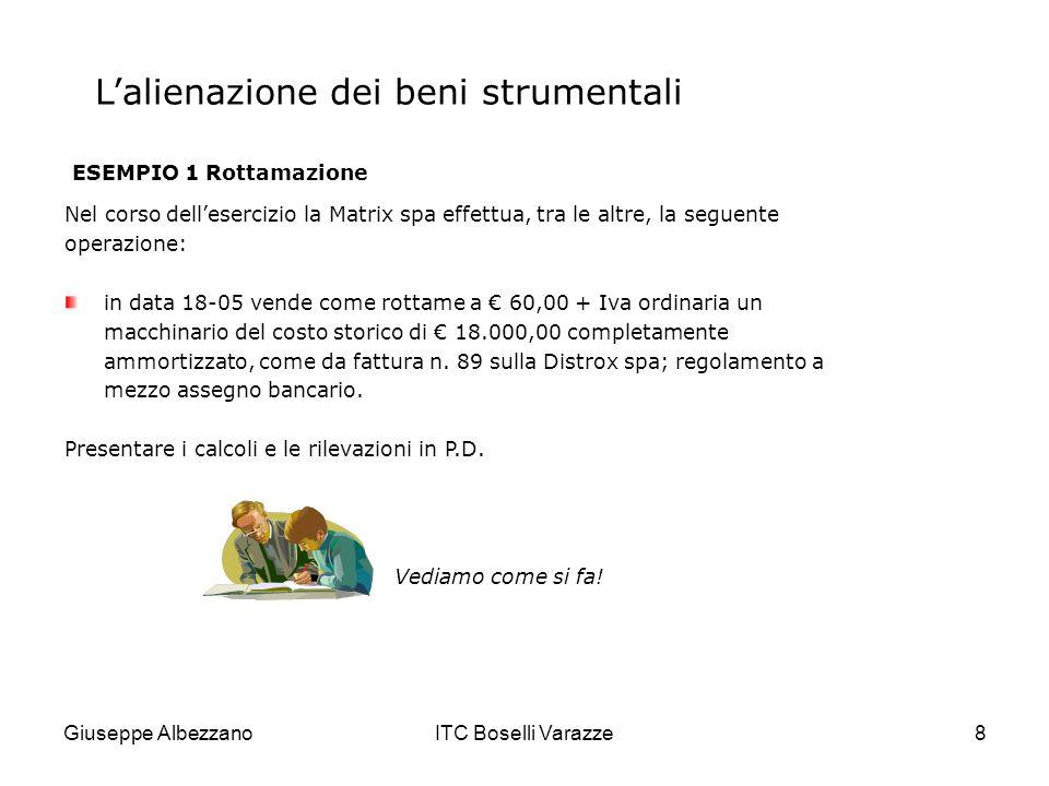 Giuseppe AlbezzanoITC Boselli Varazze8 Lalienazione dei beni strumentali ESEMPIO 1 Rottamazione Nel corso dellesercizio la Matrix spa effettua, tra le