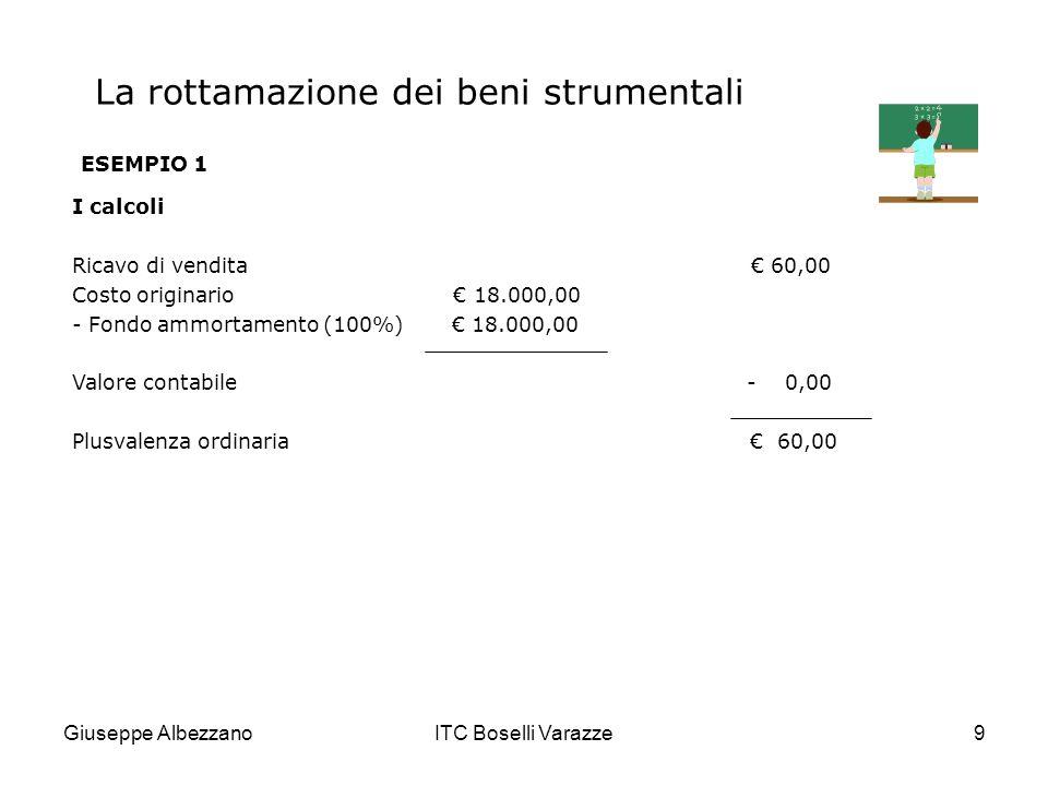 Giuseppe AlbezzanoITC Boselli Varazze9 La rottamazione dei beni strumentali ESEMPIO 1 I calcoli Ricavo di vendita 60,00 Costo originario 18.000,00 - F