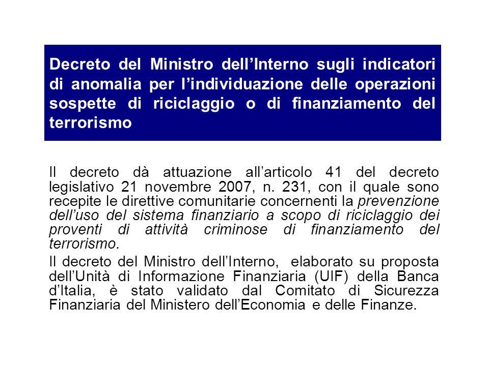 Decreto del Ministro dellInterno sugli indicatori di anomalia per lindividuazione delle operazioni sospette di riciclaggio o di finanziamento del terr