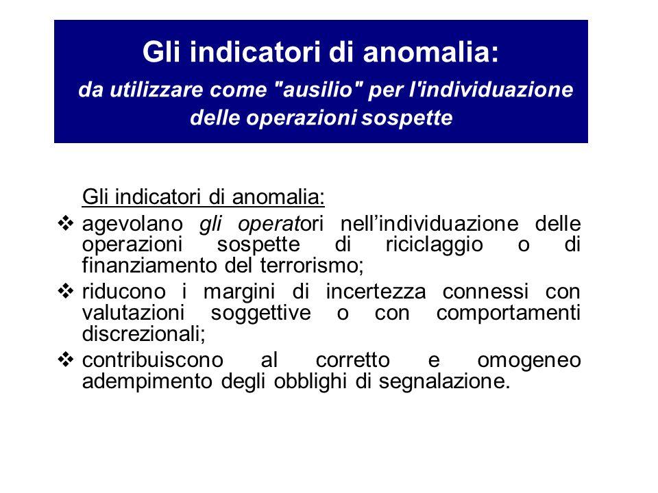 Gli indicatori di anomalia: agevolano gli operatori nellindividuazione delle operazioni sospette di riciclaggio o di finanziamento del terrorismo; rid