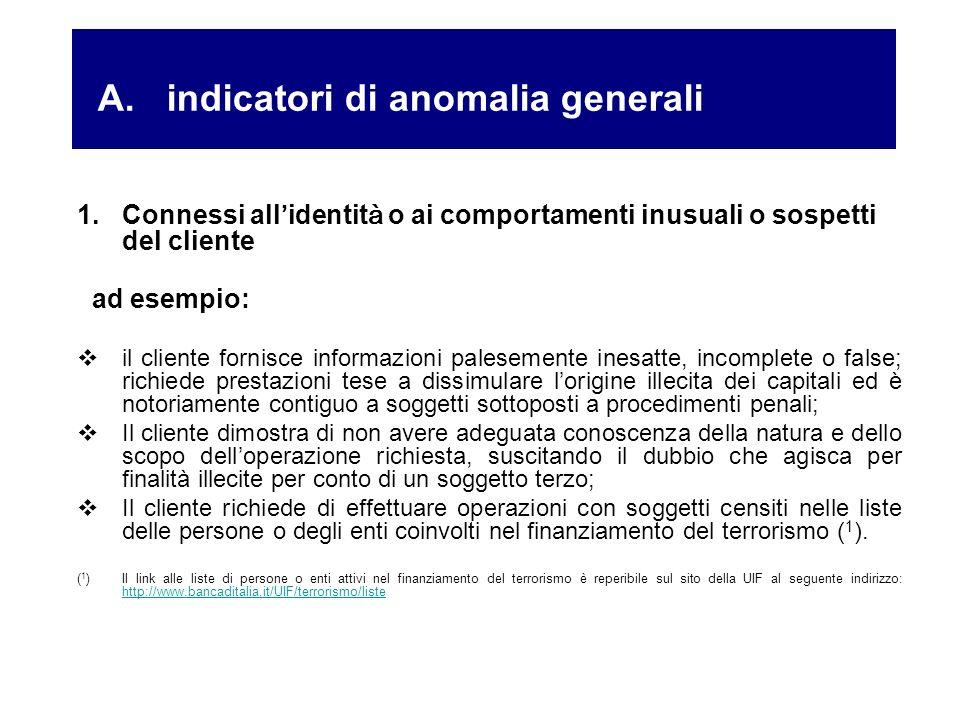 1.Connessi all identit à o ai comportamenti inusuali o sospetti del cliente ad esempio: il cliente fornisce informazioni palesemente inesatte, incompl