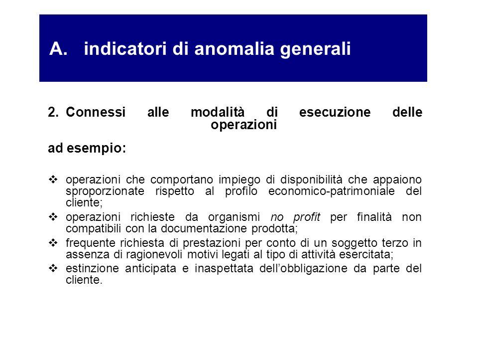 2.Connessi alle modalità di esecuzione delle operazioni ad esempio: operazioni che comportano impiego di disponibilità che appaiono sproporzionate ris