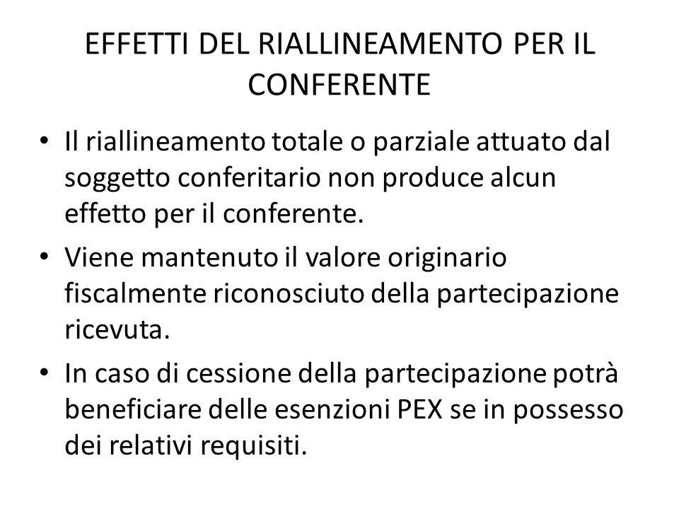 EFFETTI DEL RIALLINEAMENTO PER IL CONFERENTE Il riallineamento totale o parziale attuato dal soggetto conferitario non produce alcun effetto per il conferente.