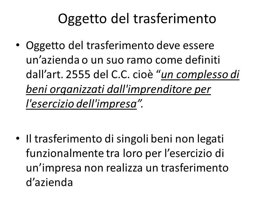 Oggetto del trasferimento Oggetto del trasferimento deve essere unazienda o un suo ramo come definiti dallart.