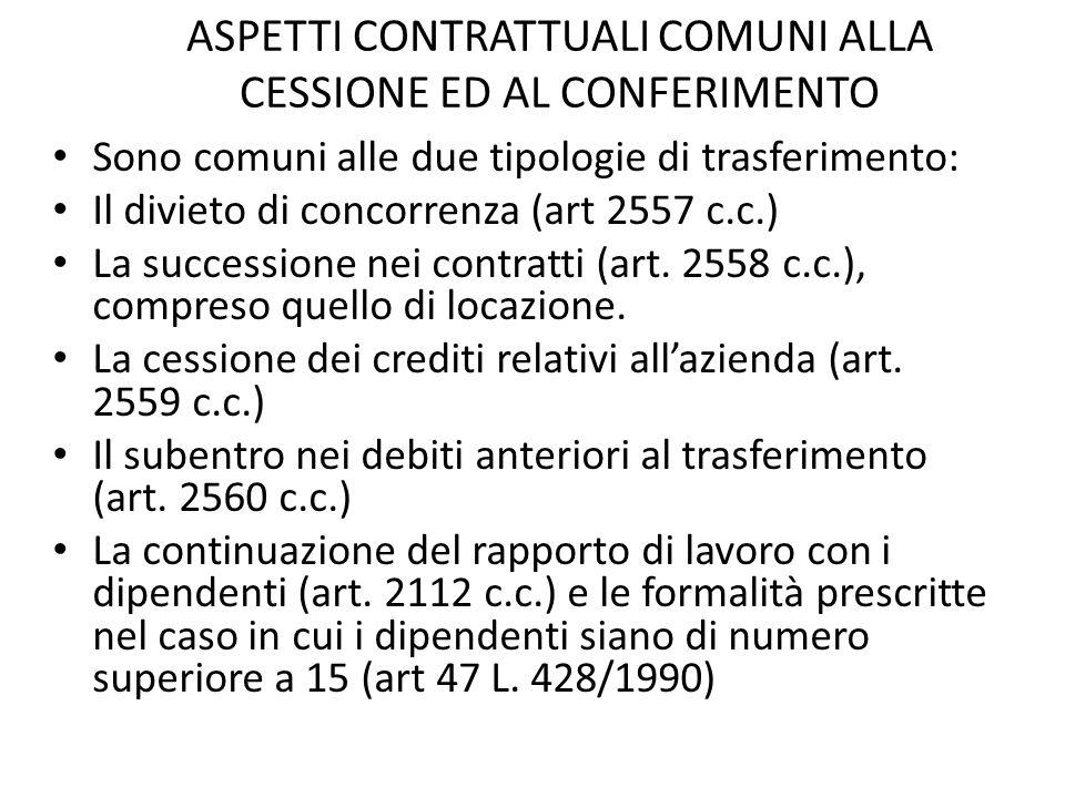 ASPETTI CONTRATTUALI COMUNI ALLA CESSIONE ED AL CONFERIMENTO Sono comuni alle due tipologie di trasferimento: Il divieto di concorrenza (art 2557 c.c.) La successione nei contratti (art.