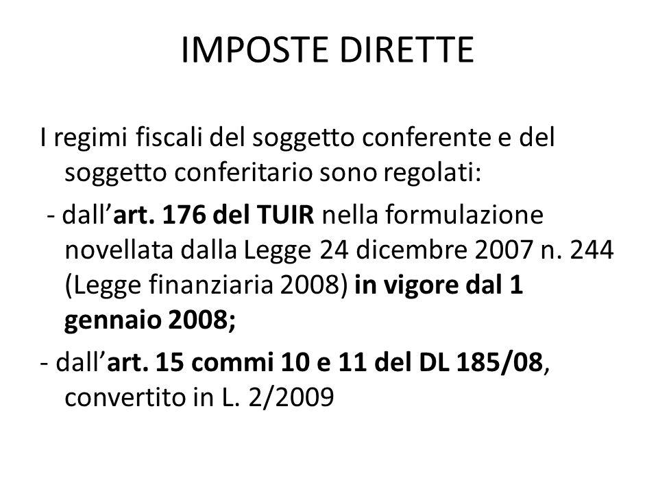 IMPOSTE DIRETTE I regimi fiscali del soggetto conferente e del soggetto conferitario sono regolati: - dallart.