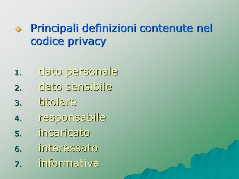 Principali definizioni contenute nel codice privacy Principali definizioni contenute nel codice privacy 1. dato personale 2. dato sensibile 3. titolar