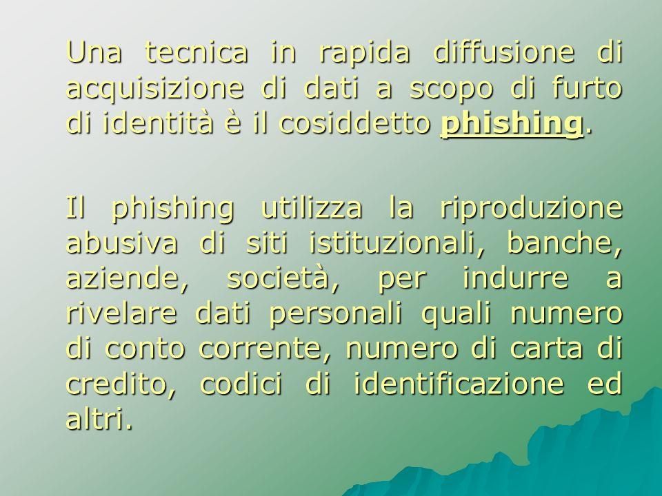Una tecnica in rapida diffusione di acquisizione di dati a scopo di furto di identità è il cosiddetto phishing. Il phishing utilizza la riproduzione a