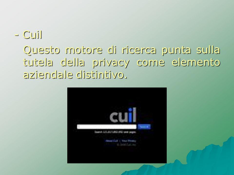 - Cuil Questo motore di ricerca punta sulla tutela della privacy come elemento aziendale distintivo.