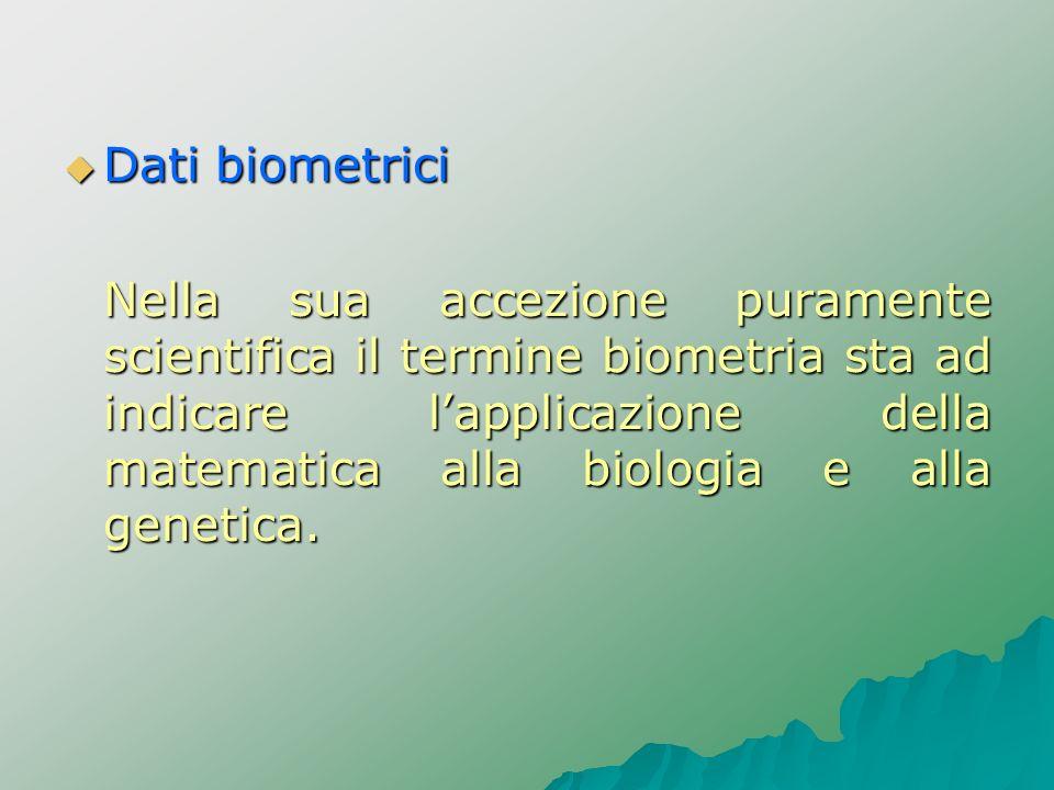 Dati biometrici Dati biometrici Nella sua accezione puramente scientifica il termine biometria sta ad indicare lapplicazione della matematica alla bio