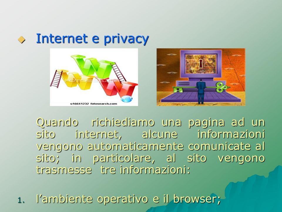 Internet e privacy Internet e privacy Quando richiediamo una pagina ad un sito internet, alcune informazioni vengono automaticamente comunicate al sit