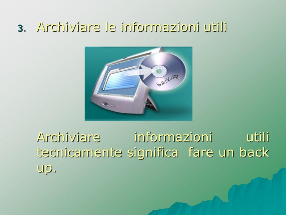 3. Archiviare le informazioni utili Archiviare informazioni utili tecnicamente significa fare un back up.