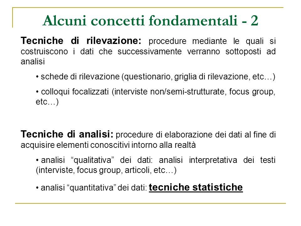 Alcuni concetti fondamentali - 2 Tecniche di rilevazione: procedure mediante le quali si costruiscono i dati che successivamente verranno sottoposti a