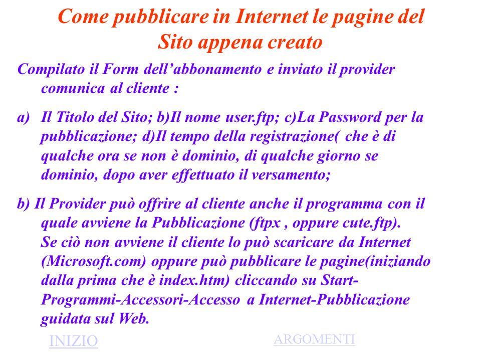 Come pubblicare in Internet le pagine del Sito appena creato Compilato il Form dellabbonamento e inviato il provider comunica al cliente : a)Il Titolo