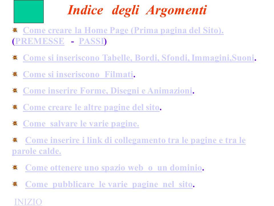 Come creare la Home Page (Prima pagina del Sito). (PREMESSE - PASSI)Come creare la Home Page (Prima pagina del Sito).PREMESSEPASSI Come si inseriscono