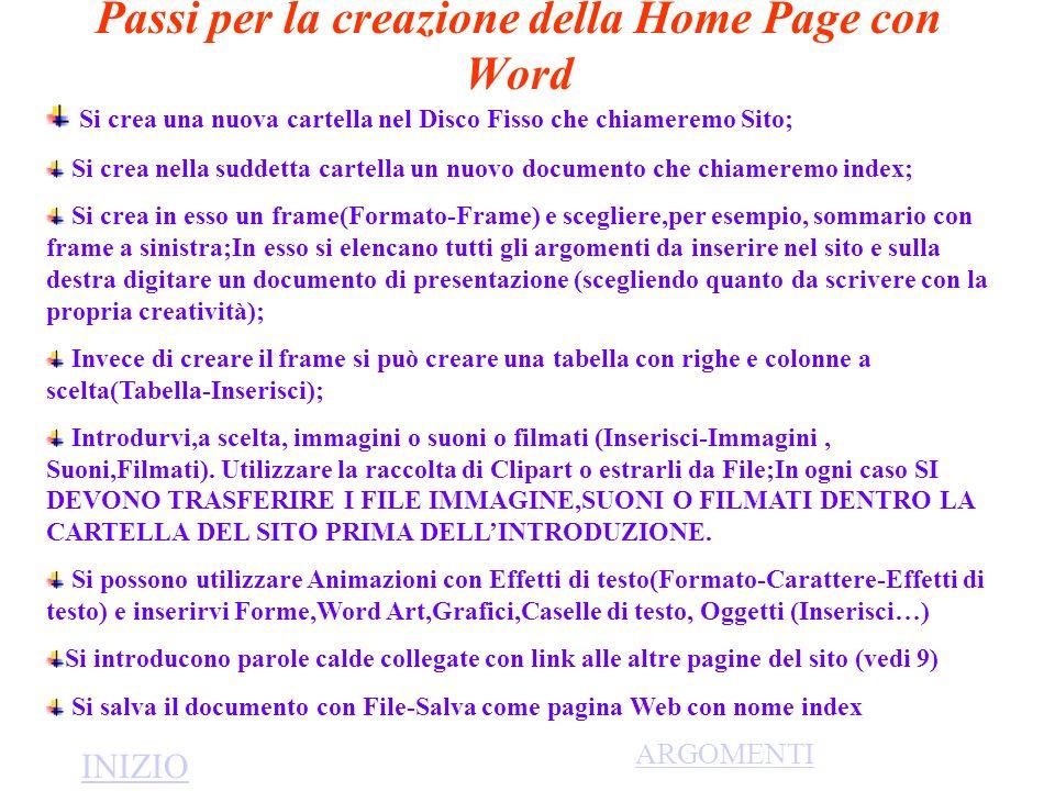 Passi per la creazione della Home Page con Word Si crea una nuova cartella nel Disco Fisso che chiameremo Sito; Si crea nella suddetta cartella un nuo