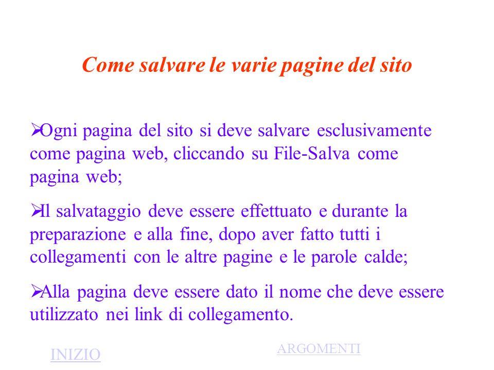Come salvare le varie pagine del sito Ogni pagina del sito si deve salvare esclusivamente come pagina web, cliccando su File-Salva come pagina web; Il
