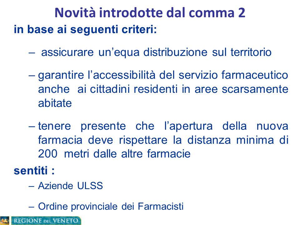 in base ai seguenti criteri: – assicurare unequa distribuzione sul territorio –garantire laccessibilità del servizio farmaceutico anche ai cittadini r