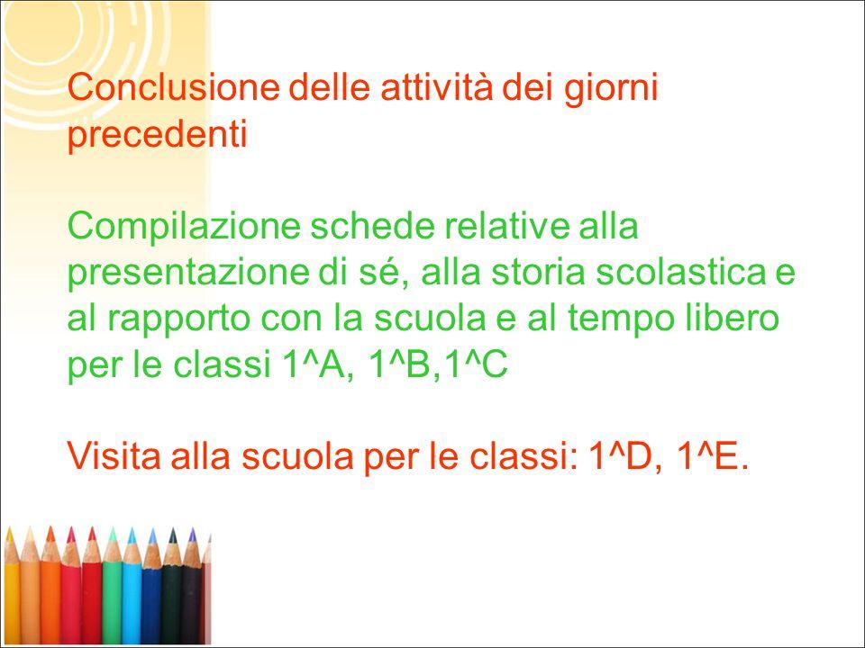 Conclusione delle attività dei giorni precedenti Compilazione schede relative alla presentazione di sé, alla storia scolastica e al rapporto con la sc