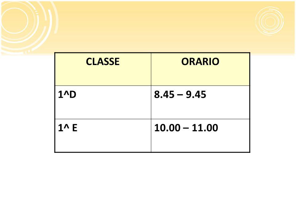 CLASSEORARIO 1^D8.45 – 9.45 1^ E10.00 – 11.00