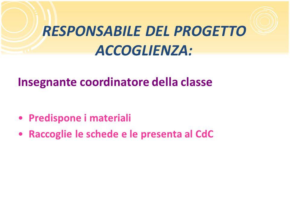 RESPONSABILE DEL PROGETTO ACCOGLIENZA: Insegnante coordinatore della classe Predispone i materiali Raccoglie le schede e le presenta al CdC