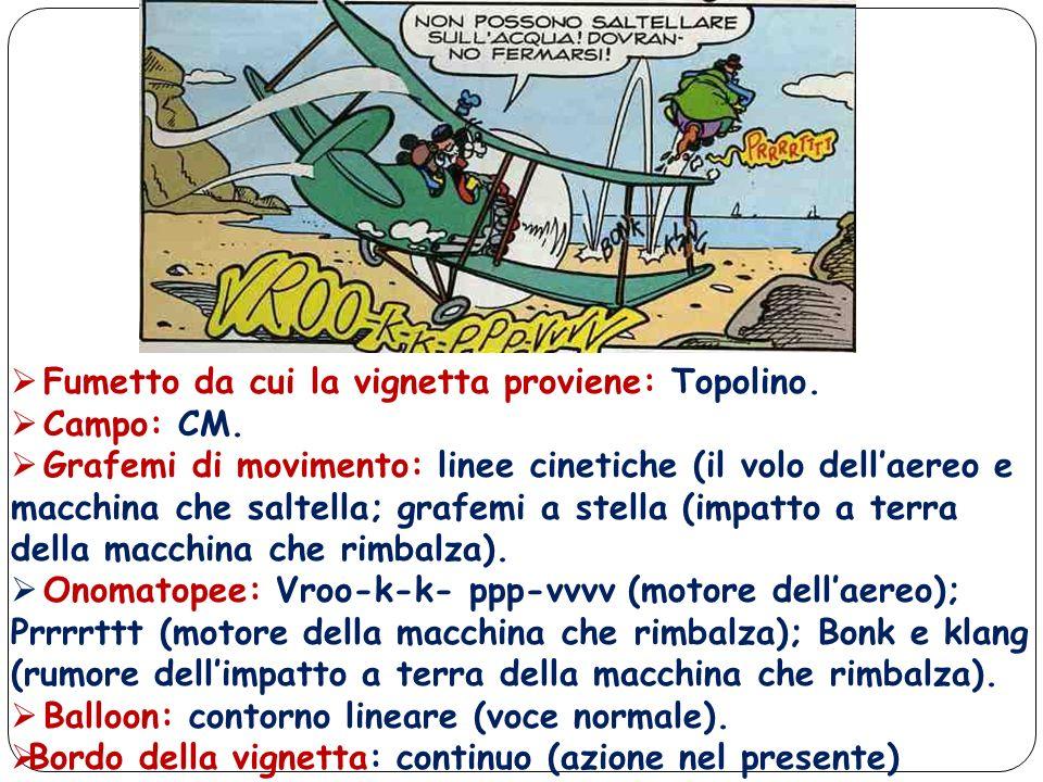 Fumetto da cui la vignetta proviene: Topolino. Campo: CM. Grafemi di movimento: linee cinetiche (il volo dellaereo e macchina che saltella; grafemi a