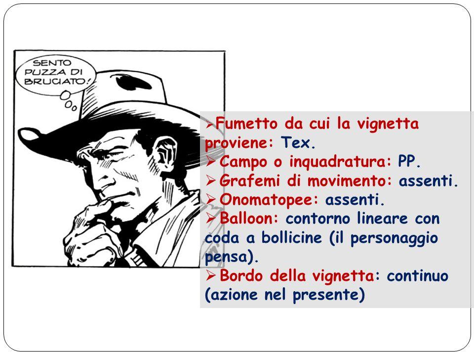 Fumetto da cui la vignetta proviene: Tex. Campo o inquadratura: PP. Grafemi di movimento: assenti. Onomatopee: assenti. Balloon: contorno lineare con