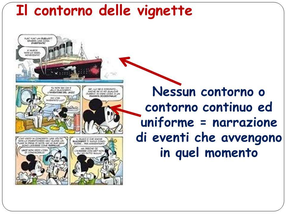Il contorno delle vignette Nessun contorno o contorno continuo ed uniforme = narrazione di eventi che avvengono in quel momento
