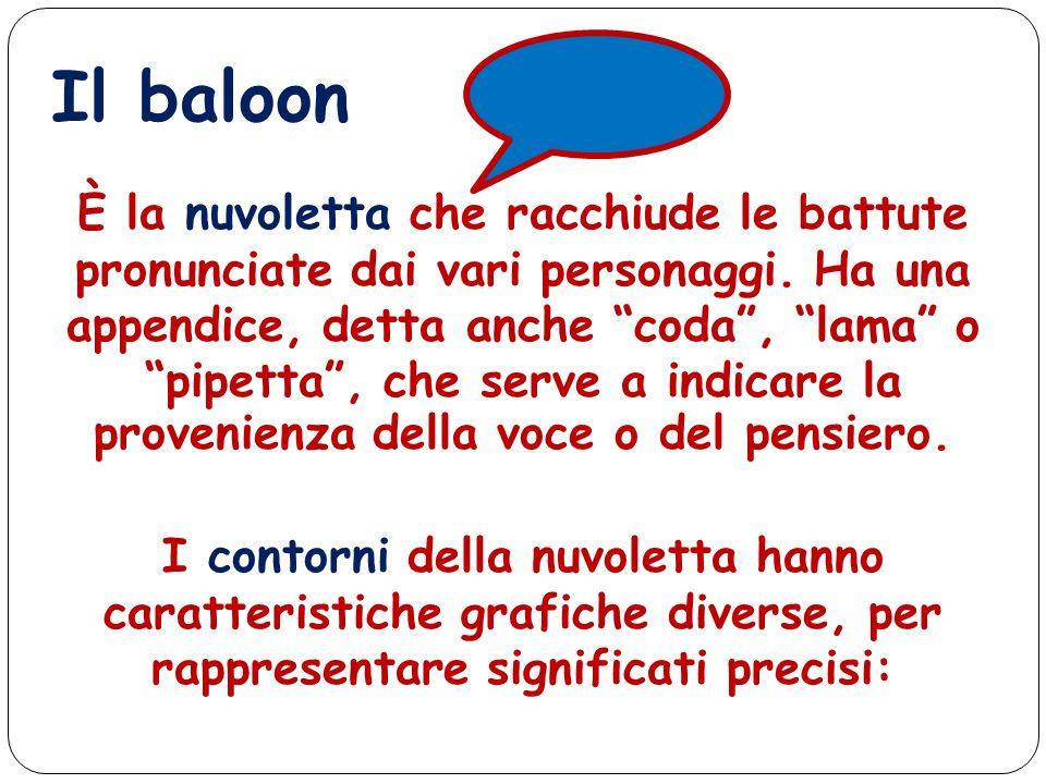 I contorni della nuvoletta hanno caratteristiche grafiche diverse, per rappresentare significati precisi: Il baloon È la nuvoletta che racchiude le ba
