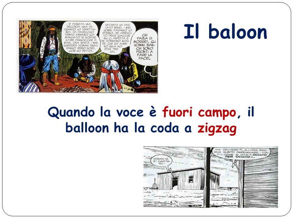 Quando la voce è fuori campo, il balloon ha la coda a zigzag Il baloon