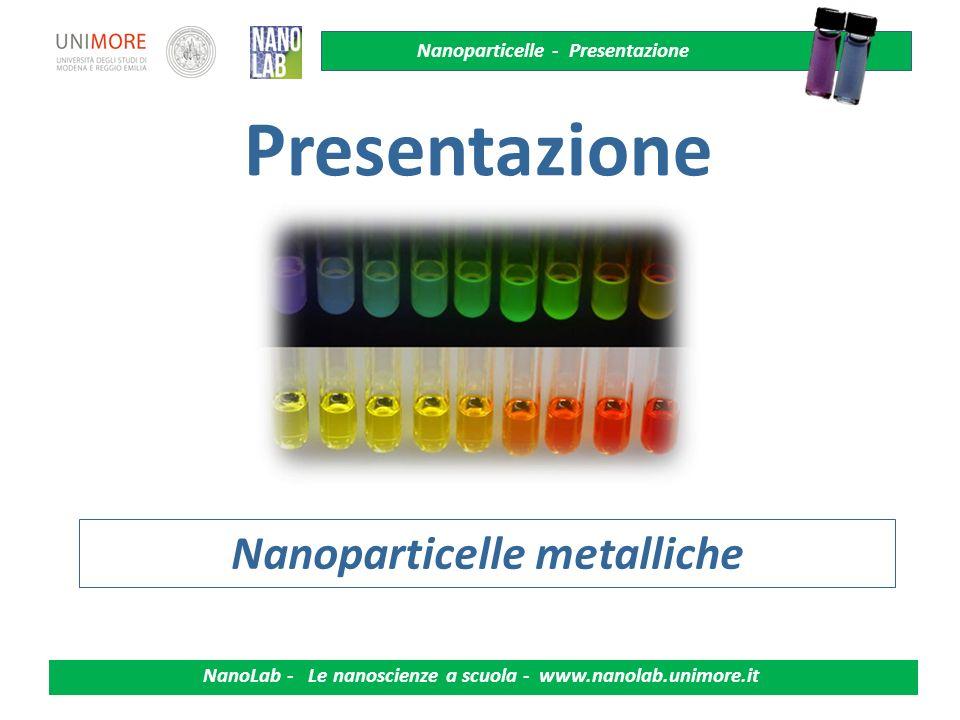 Nanoparticelle - Presentazione NanoLab - Le nanoscienze a scuola - www.nanolab.unimore.it 2 Ossidoriduzioni - Elettroliti Colore e visione Sensori colorimetrici Nanoscienze, nanotecnologie Interazione luce - materia Principi di spettroscopia Diffusione di particelle in un solido