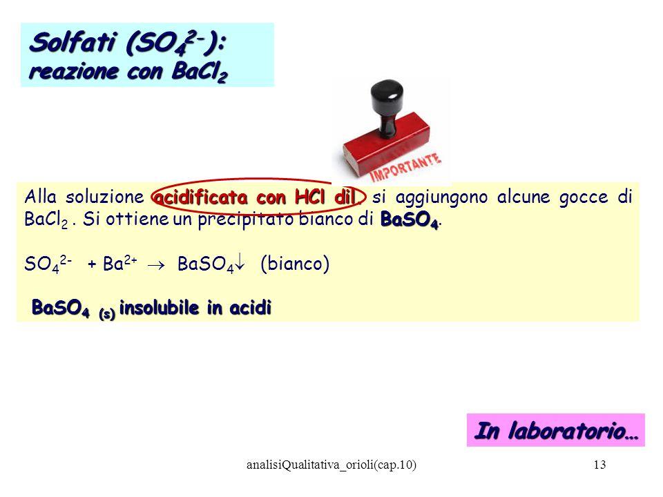 analisiQualitativa_orioli(cap.10)13 acidificata con HCl dil. BaSO 4 Alla soluzione acidificata con HCl dil. si aggiungono alcune gocce di BaCl 2. Si o