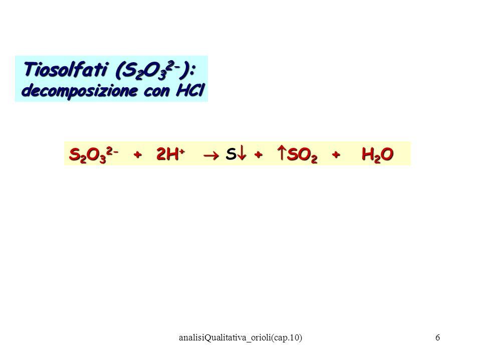 analisiQualitativa_orioli(cap.10)6 Tiosolfati (S 2 O 3 2- ): decomposizione con HCl S 2 O 3 2- + 2H + S + SO 2 + H 2 O