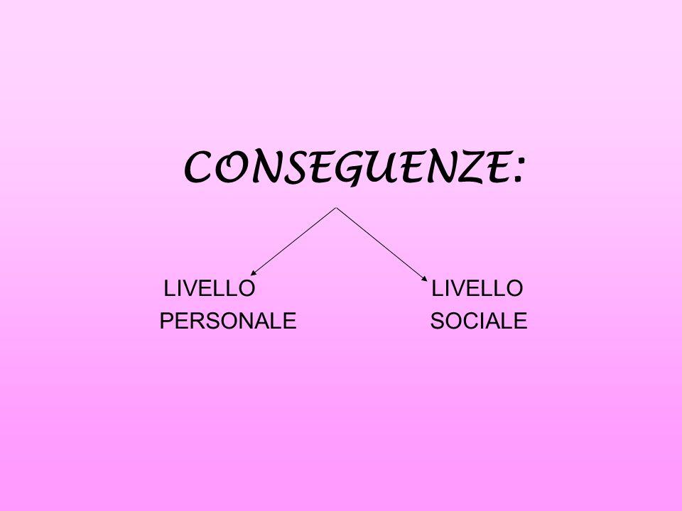 CONSEGUENZE: LIVELLO PERSONALE SOCIALE