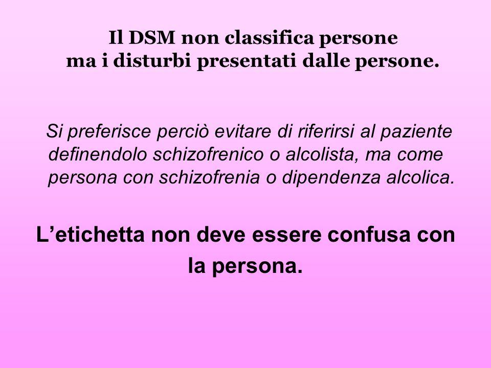 Il DSM non classifica persone ma i disturbi presentati dalle persone. Si preferisce perciò evitare di riferirsi al paziente definendolo schizofrenico