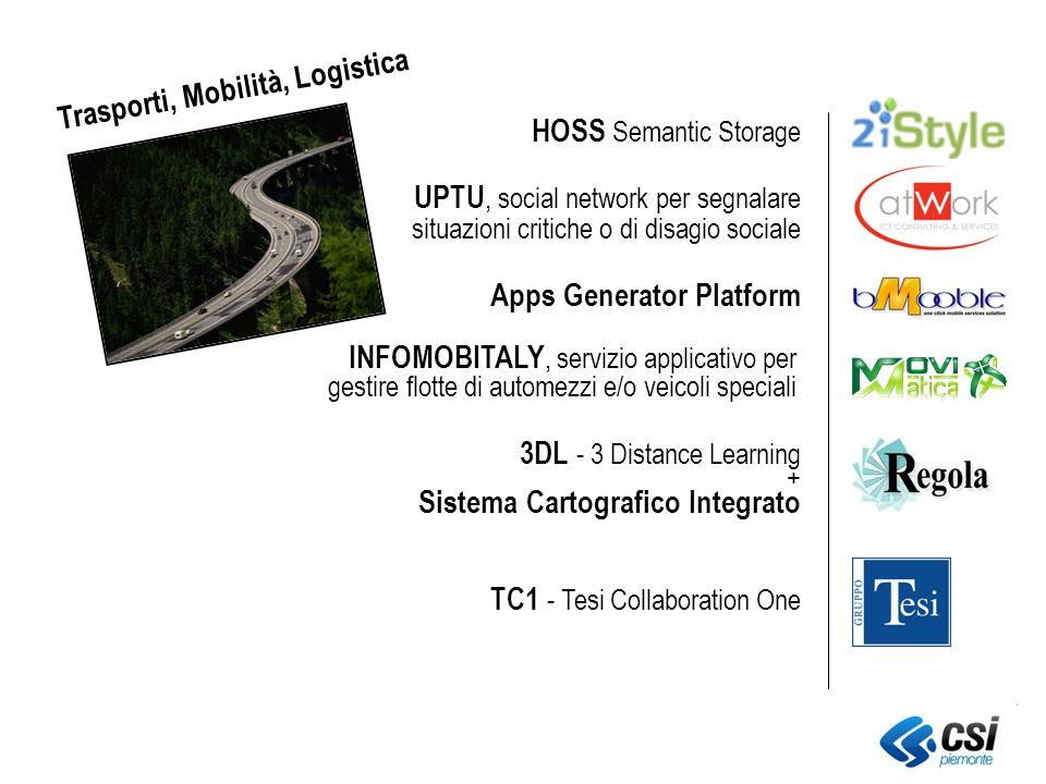 UPTU, social network per segnalare situazioni critiche o di disagio sociale Apps Generator Platform TC1 - Tesi Collaboration One INFOMOBITALY, servizio applicativo per gestire flotte di automezzi e/o veicoli speciali HOSS Semantic Storage Sistema Cartografico Integrato 3DL - 3 Distance Learning + Trasporti, Mobilità, Logistica