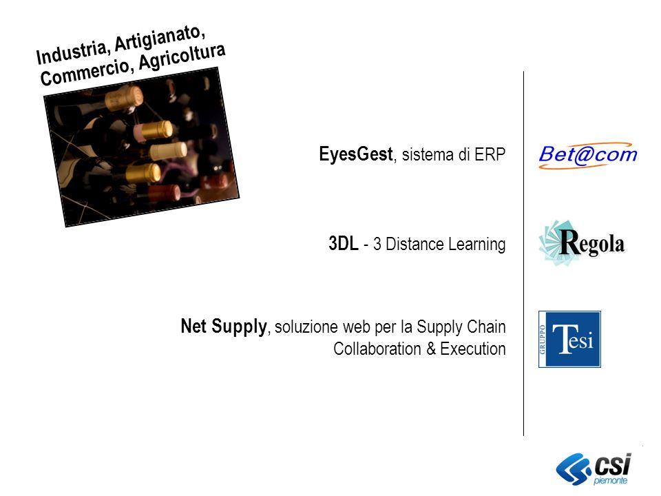 EyesGest, sistema di ERP 3DL - 3 Distance Learning Net Supply, soluzione web per la Supply Chain Collaboration & Execution Industria, Artigianato, Commercio, Agricoltura