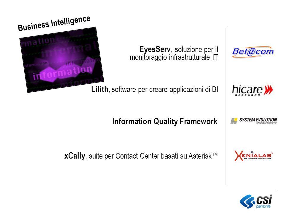xCally, suite per Contact Center basati su Asterisk EyesServ, soluzione per il monitoraggio infrastrutturale IT Lilith, software per creare applicazioni di BI Information Quality Framework Business Intelligence