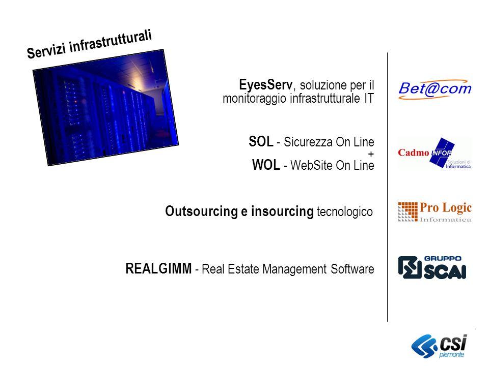 WOL - WebSite On Line SOL - Sicurezza On Line + Outsourcing e insourcing tecnologico REALGIMM - Real Estate Management Software EyesServ, soluzione per il monitoraggio infrastrutturale IT Servizi infrastrutturali