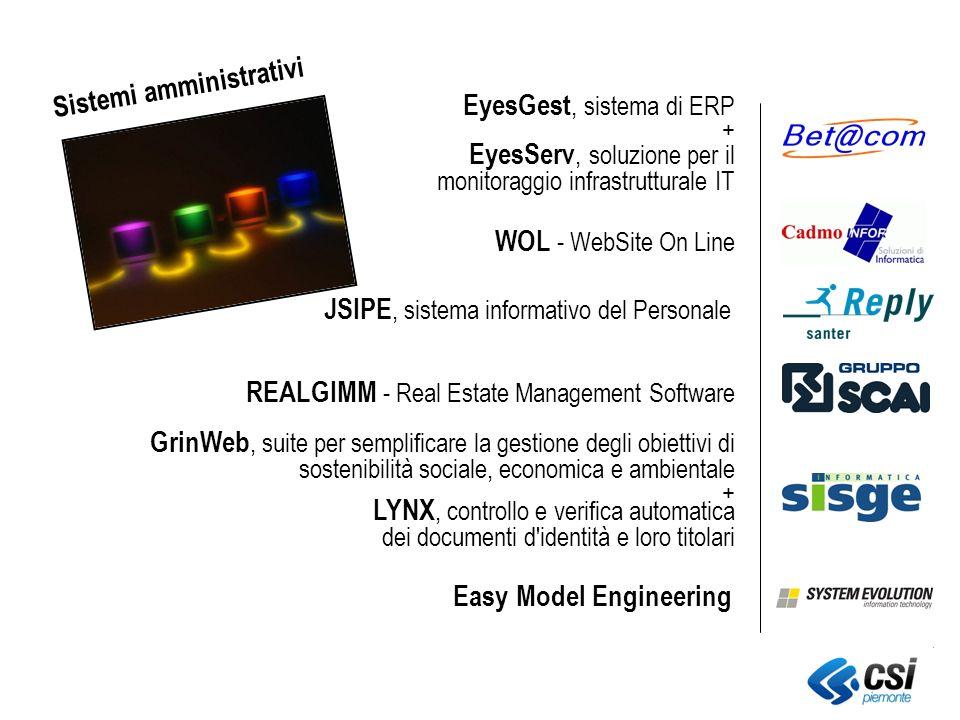 LYNX, controllo e verifica automatica dei documenti d identità e loro titolari WOL - WebSite On Line JSIPE, sistema informativo del Personale EyesGest, sistema di ERP + GrinWeb, suite per semplificare la gestione degli obiettivi di sostenibilità sociale, economica e ambientale + EyesServ, soluzione per il monitoraggio infrastrutturale IT REALGIMM - Real Estate Management Software Easy Model Engineering