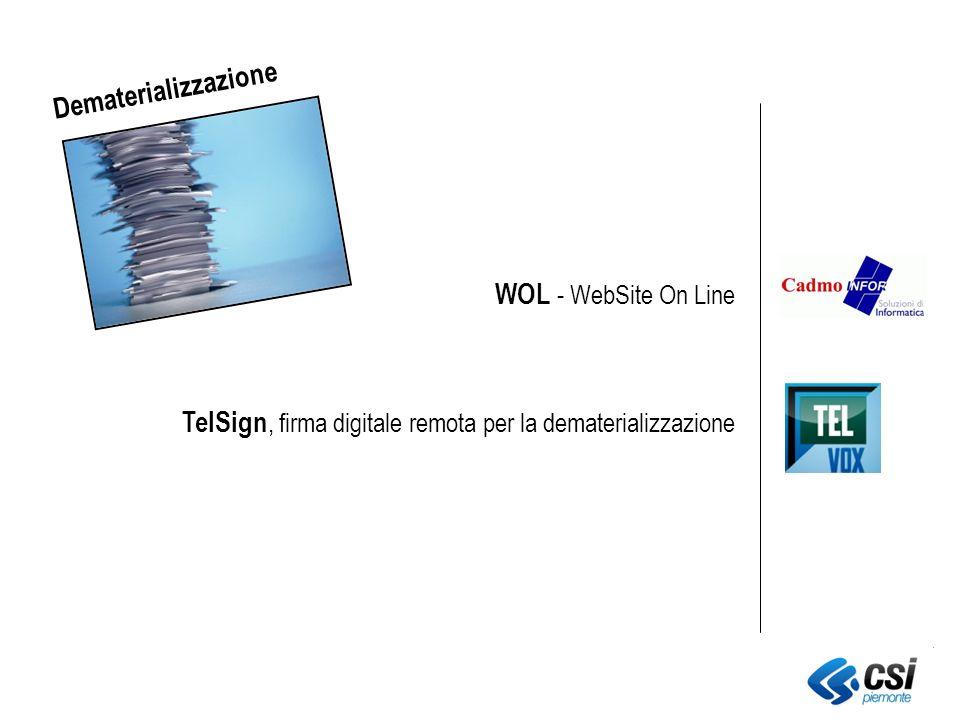 TelSign, firma digitale remota per la dematerializzazione WOL - WebSite On Line Dematerializzazione