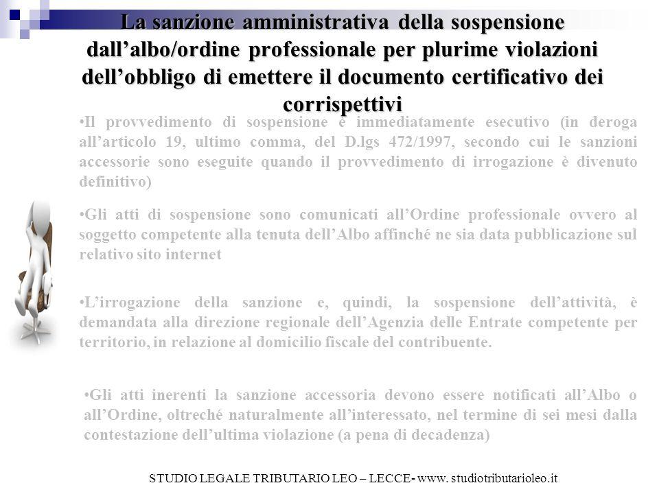 La sanzione amministrativa della sospensione dallalbo/ordine professionale per plurime violazioni dellobbligo di emettere il documento certificativo d