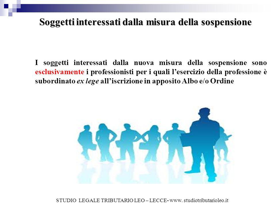 Soggetti interessati dalla misura della sospensione I soggetti interessati dalla nuova misura della sospensione sono esclusivamente i professionisti p