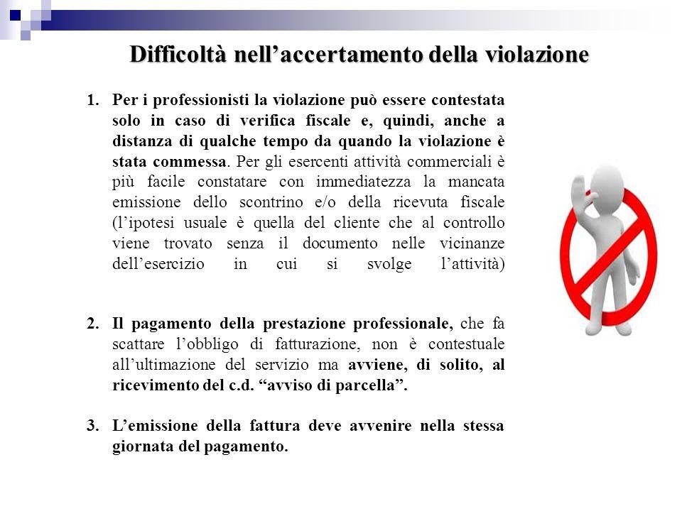 Difficoltà nellaccertamento della violazione 1.Per i professionisti la violazione può essere contestata solo in caso di verifica fiscale e, quindi, an