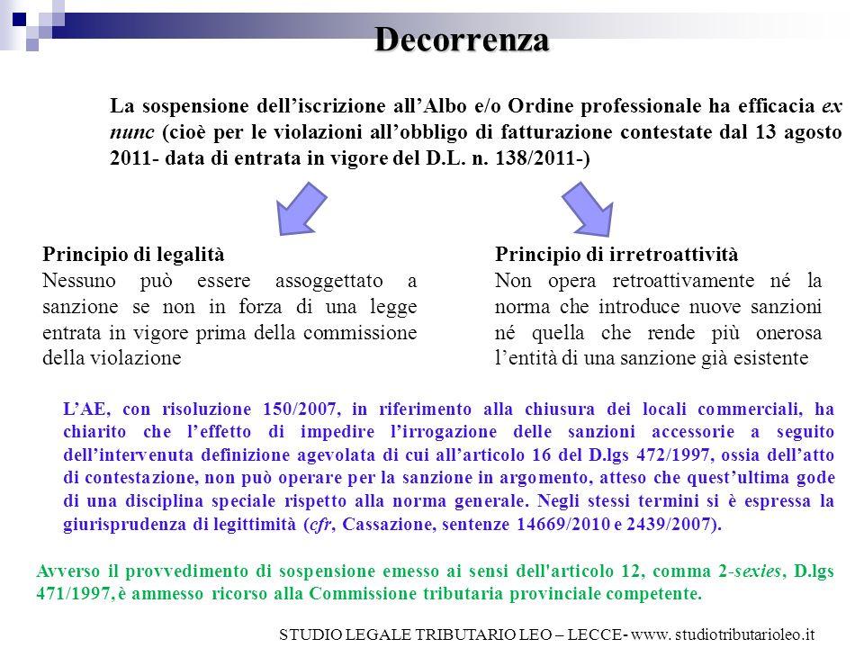 Decorrenza La sospensione delliscrizione allAlbo e/o Ordine professionale ha efficacia ex nunc (cioè per le violazioni allobbligo di fatturazione cont