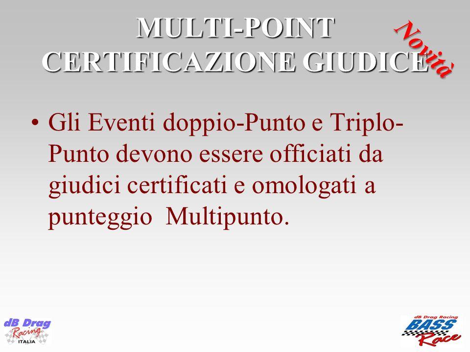 MULTI-POINT CERTIFICAZIONE GIUDICE Gli Eventi doppio-Punto e Triplo- Punto devono essere officiati da giudici certificati e omologati a punteggio Mult