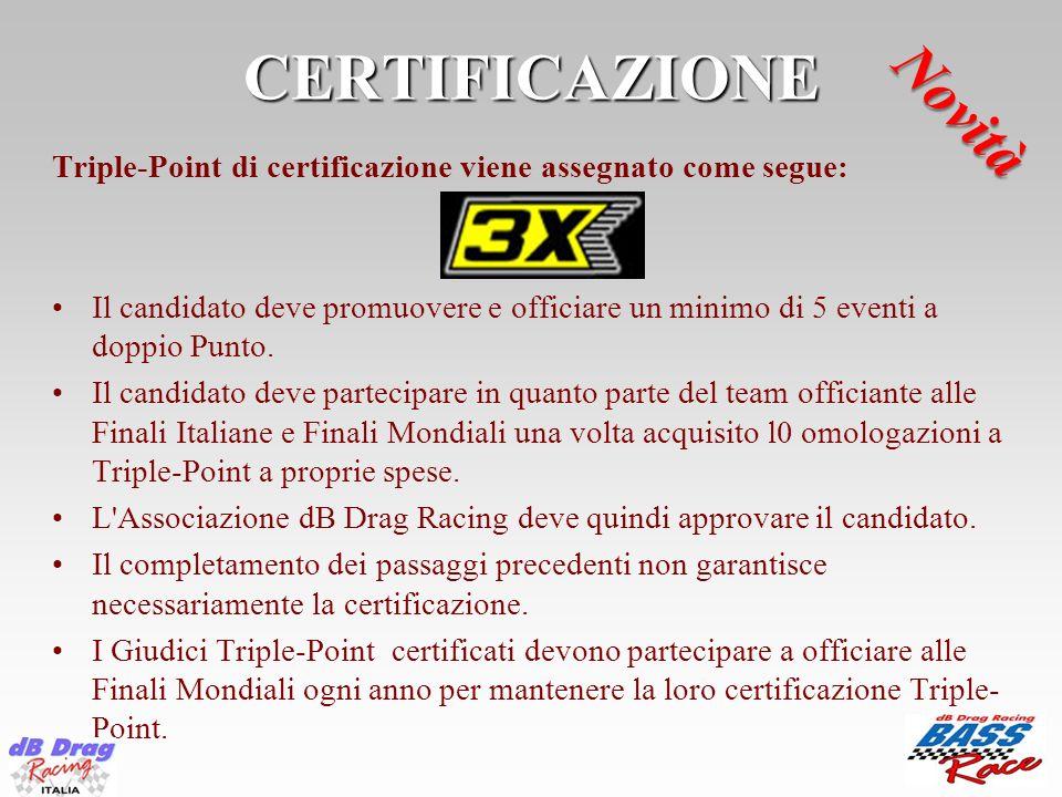 CERTIFICAZIONE Triple-Point di certificazione viene assegnato come segue: Il candidato deve promuovere e officiare un minimo di 5 eventi a doppio Punt